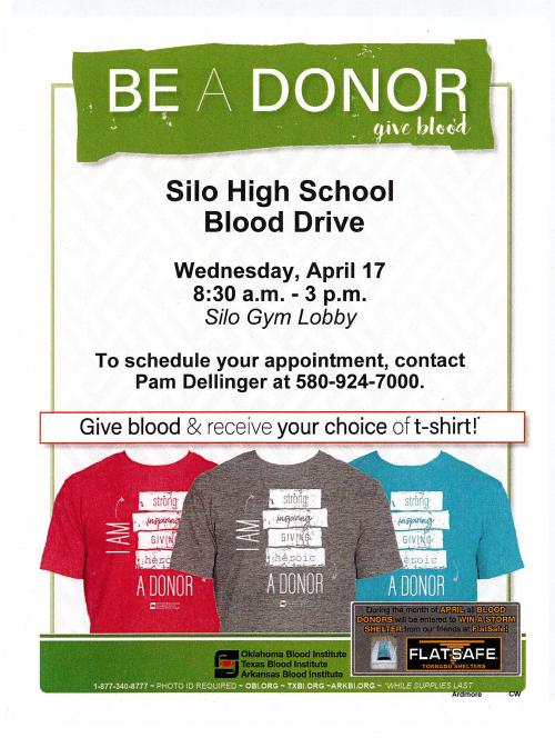 Beta Blood Drive on April 17th Silo School