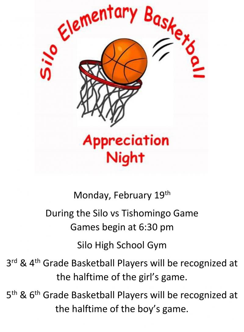 Elementary Basketball Appreciation Night Flyer