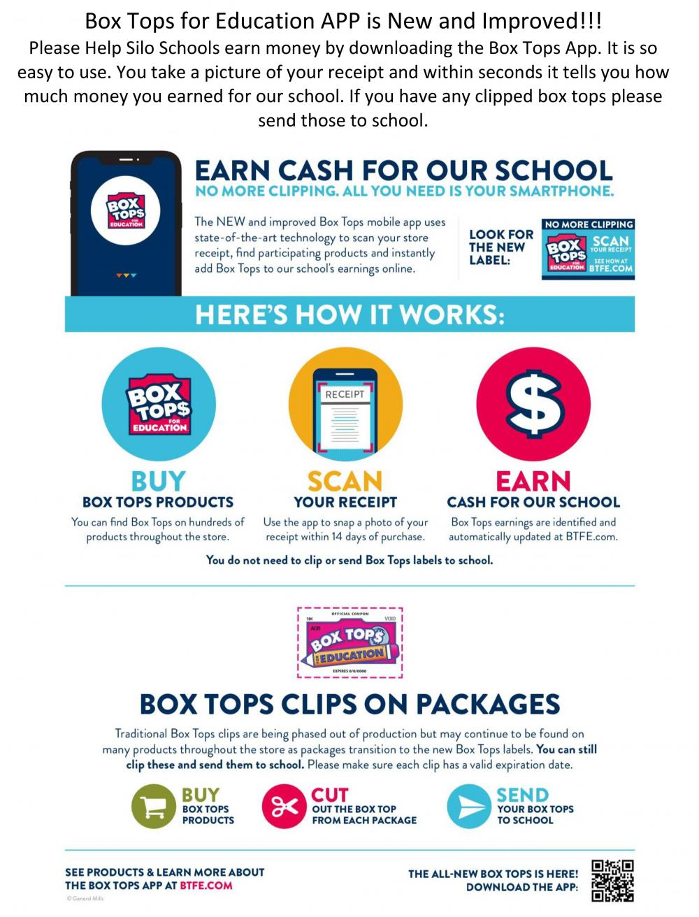 Download the Box Tops for Education App to scan receipts and earn money for your school.