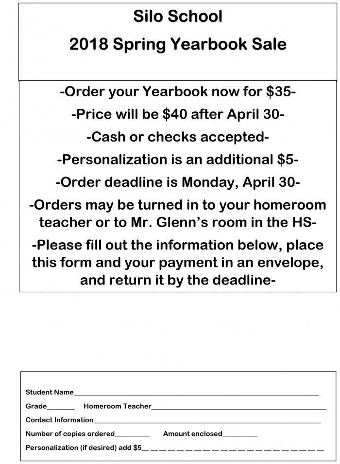 Spring Yearbook Sale