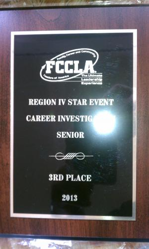 3rd Place Career Investigation awarded to Emily Cunningham at Region IV Convention...headed to State!  (Feb 2013)