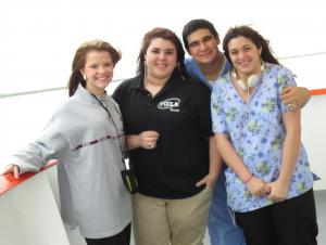 Hailey, Makayla, Jacob and Patricia on the ferry to Galveston! (Feb 2013)