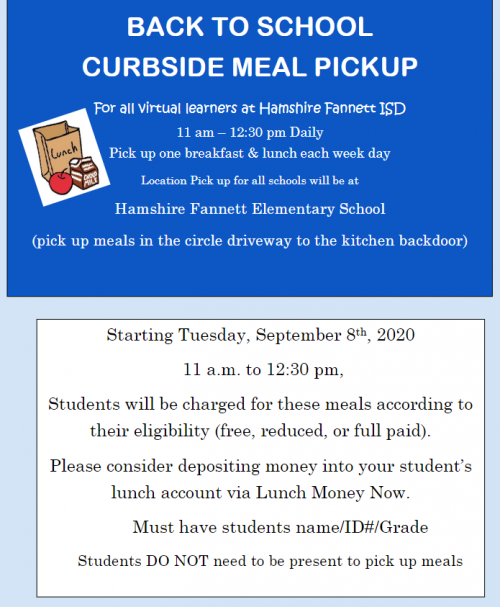 curbside meal pickup flyer