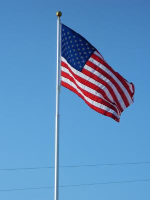 American Flag flying high.