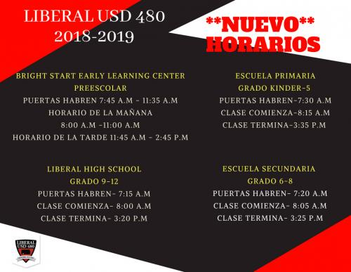 2018 Building Schedule - Spanish