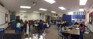 Mrs. Gilmore's class concentrating hard on math.