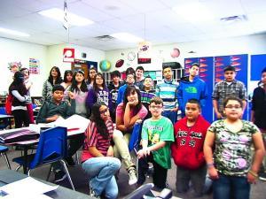 Math Block 1 in a normal team huddle!