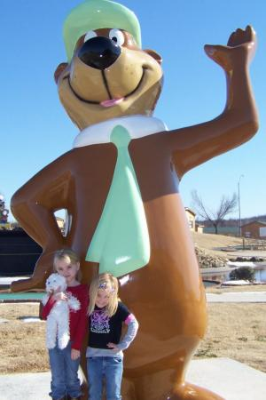 My girls with Yogi Bear
