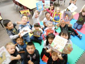 On the last day in September, the morning group opened a box of books donated by Ms. Hanson's parents.