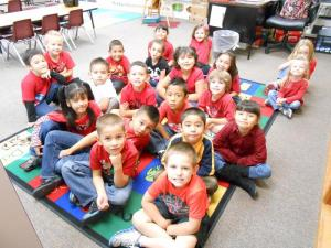 During Anti-Bullying Week, members of the morning class wear red to support the initiative.