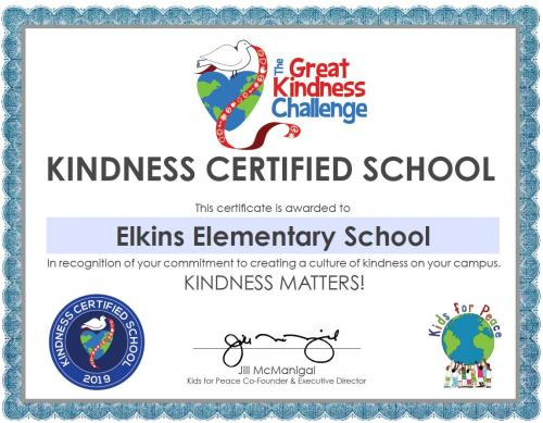 Kindness certified school certificate