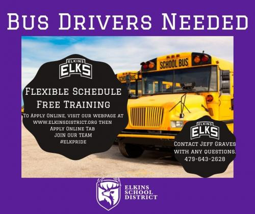 Bus Drivers needed advertisement with photo of school bus