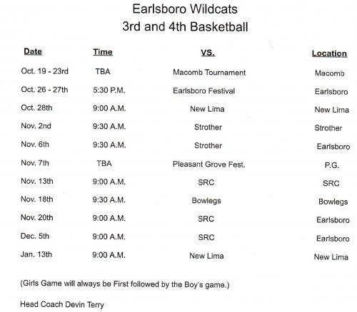 3RD/4TH GRADE BASKETBALL SCHEDULE