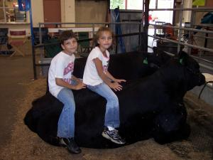 Bryce and Chesnie sitting on a show bull
