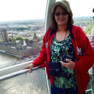 London Eye, looking down at Big Ben in the background