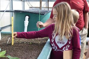 Second grade measures plant growth