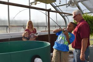 first graders fishing