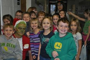 Second graders with the Grinch.
