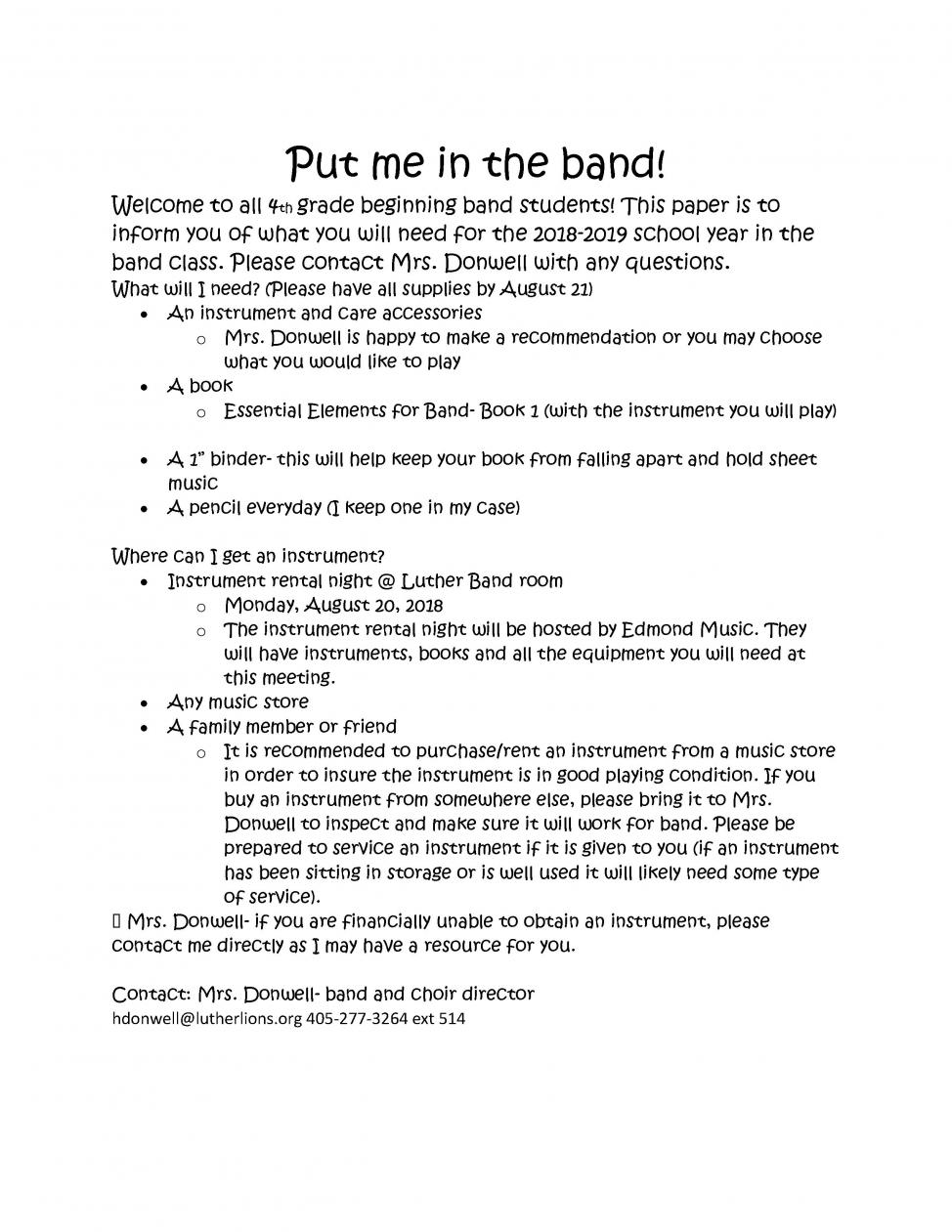 band for 4th grade