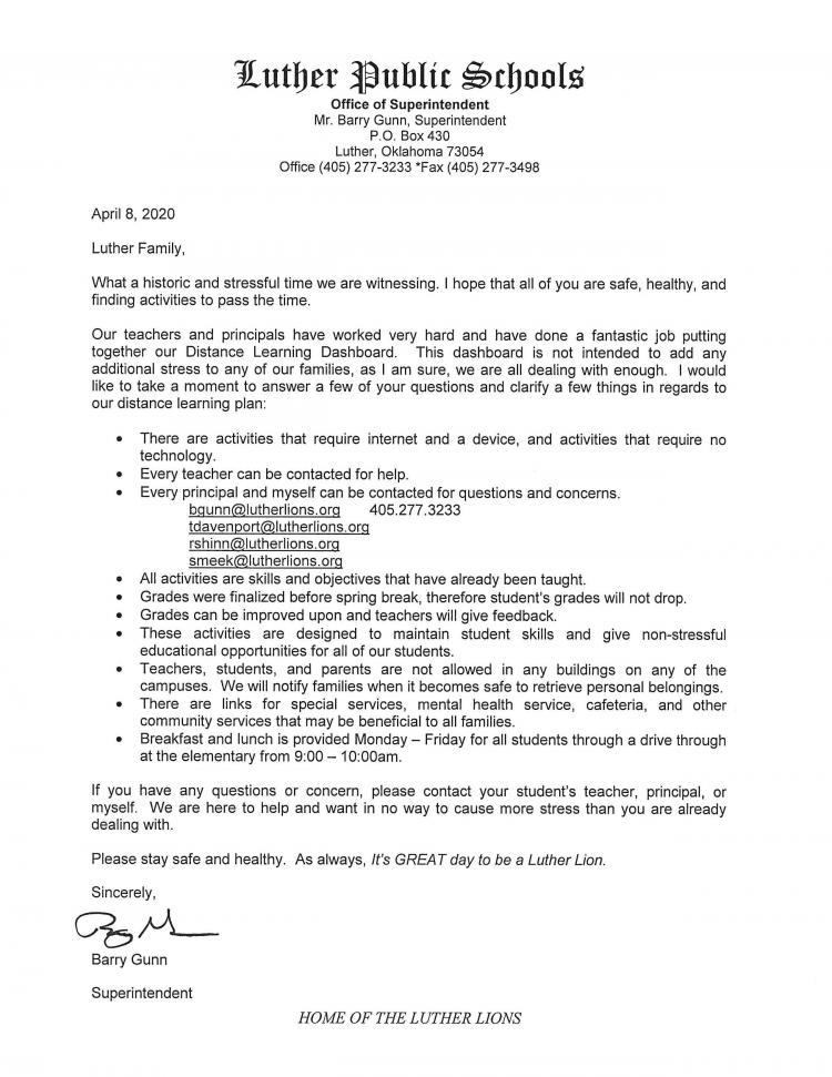 DAshboaard Explanation letter