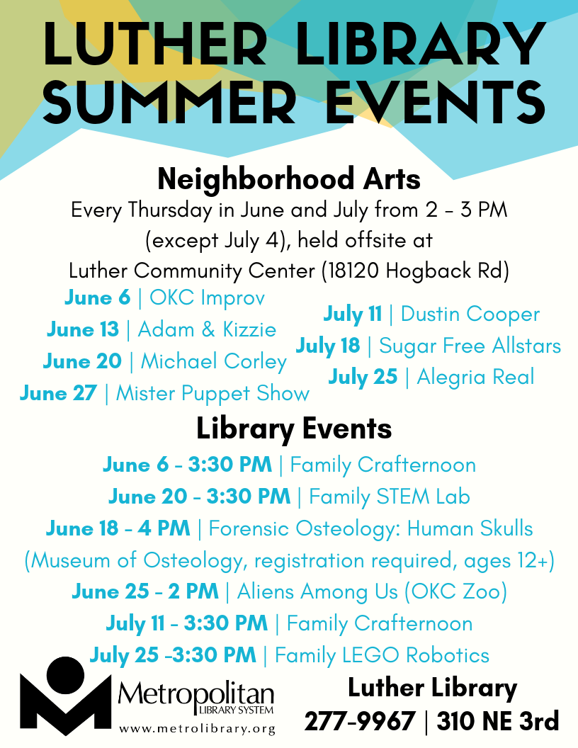 Luther Library Summer events