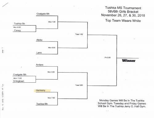Tushka Tournament 5th-6th Grade Girls Bracket
