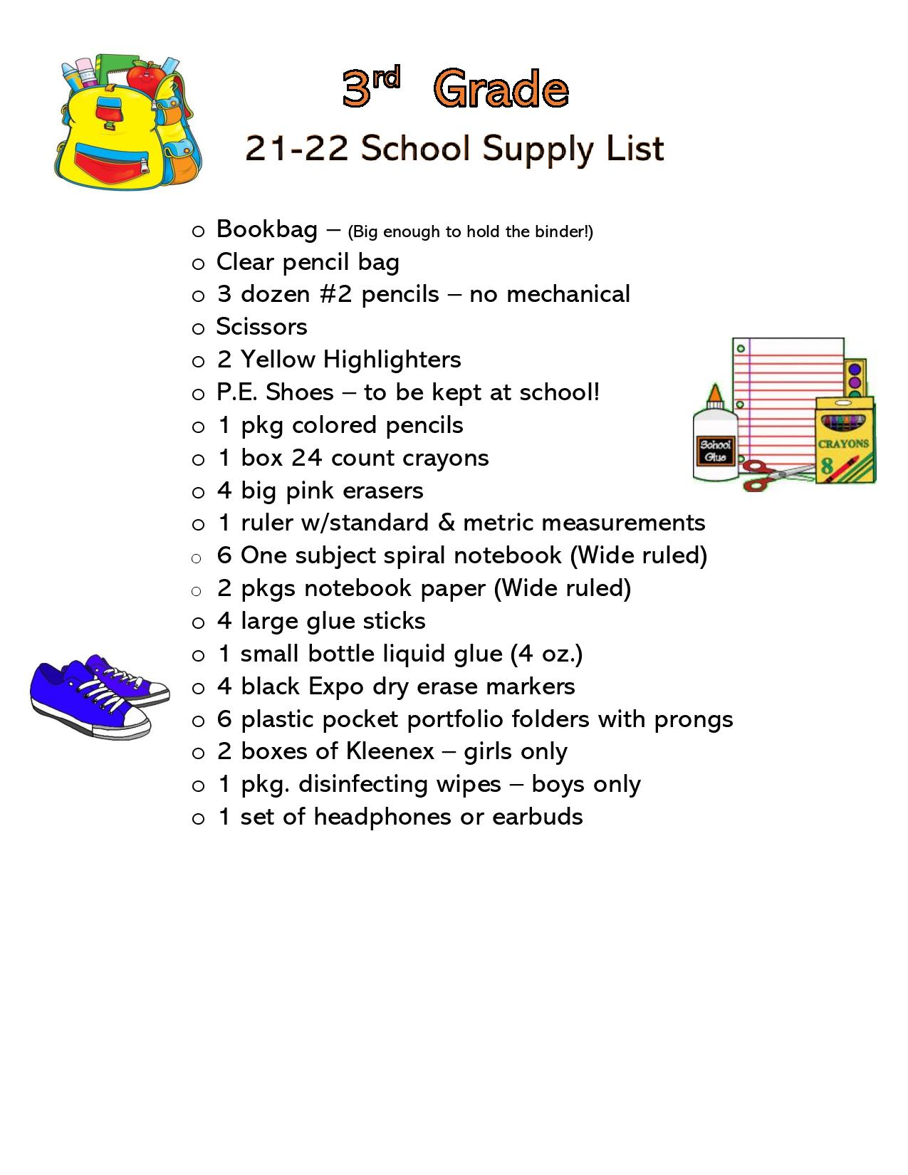 Click on the picture for the 3rd Grade supply list.