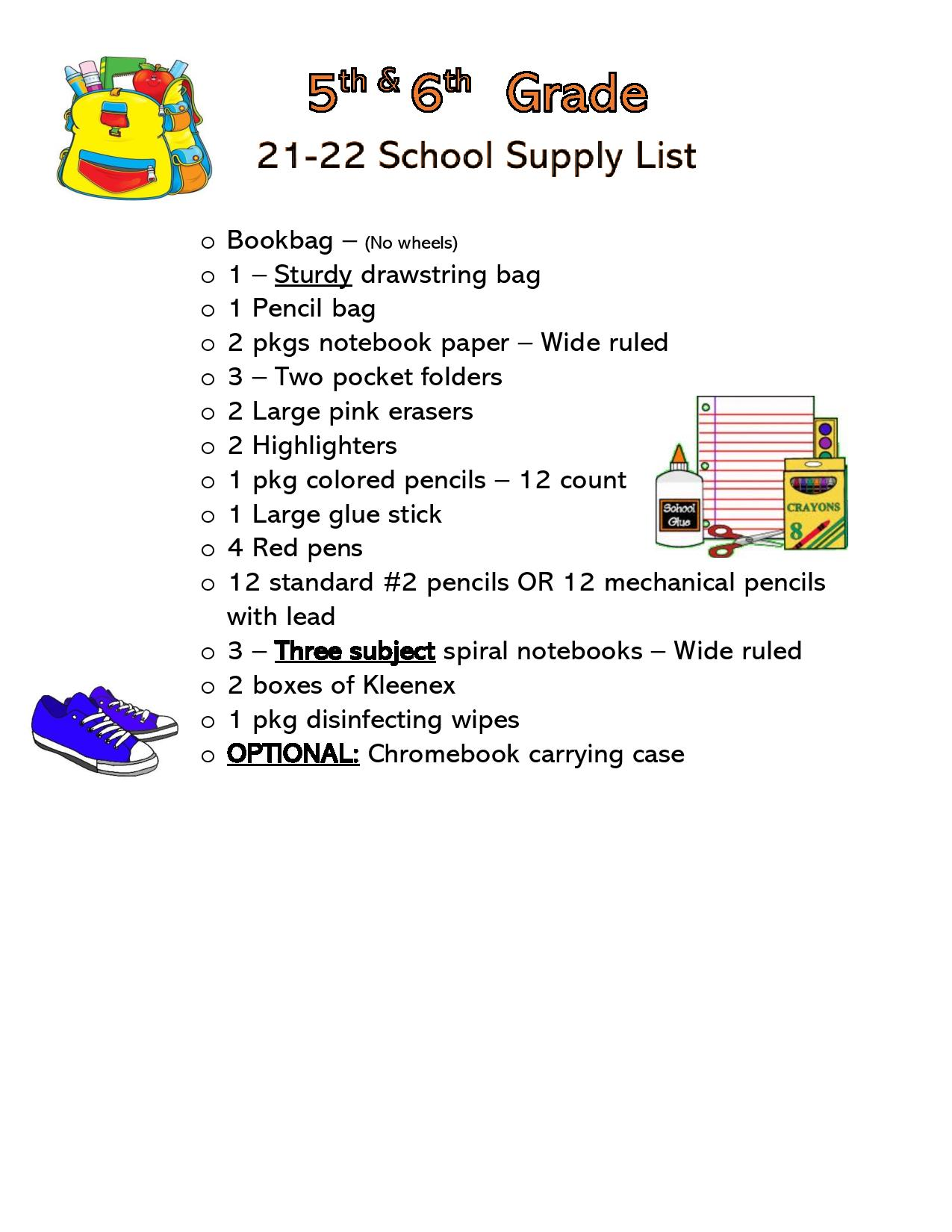 Click on the picture for the 5th Grade supply list