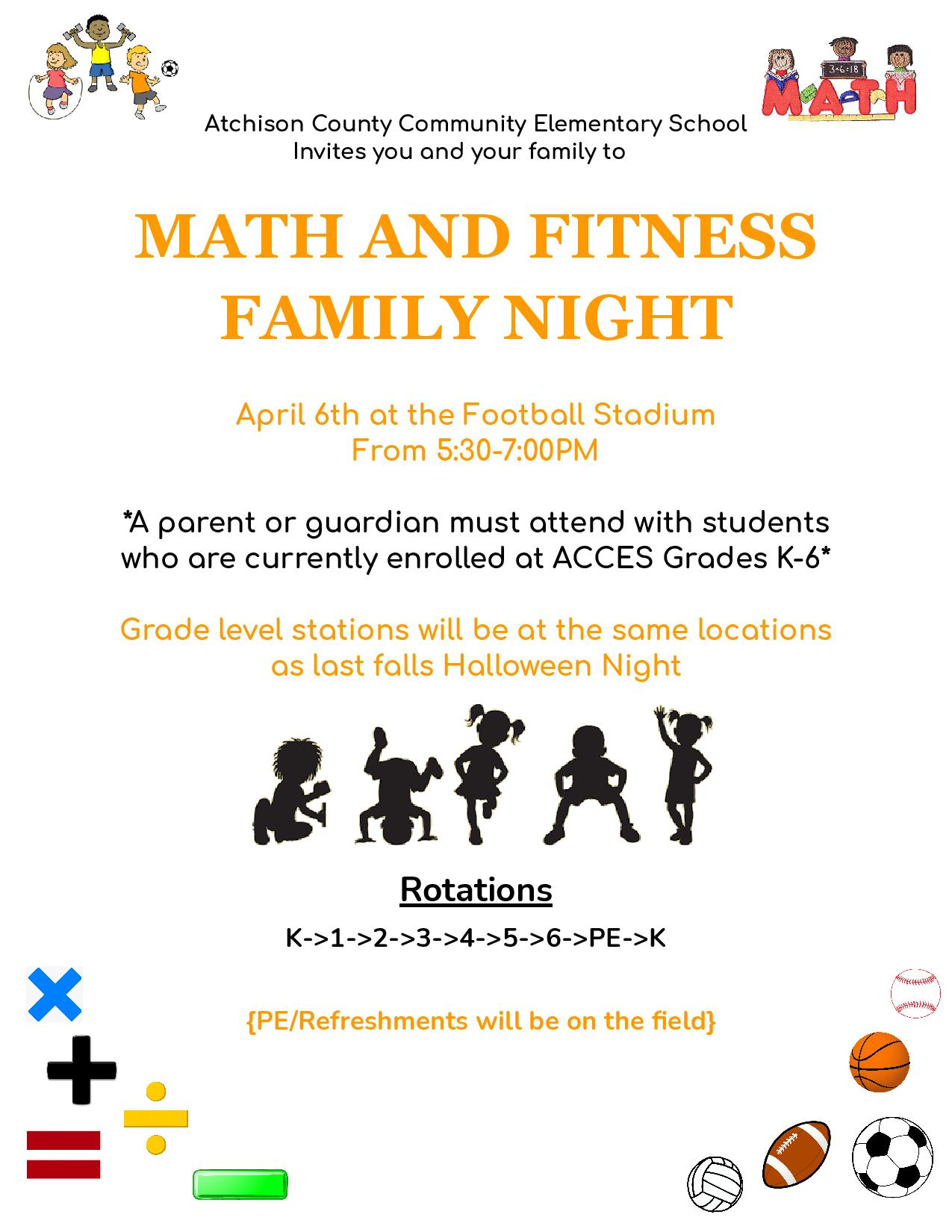 Add this to your calendar!! Tuesday, April 6th - Elementary Math & Fitness Night!
