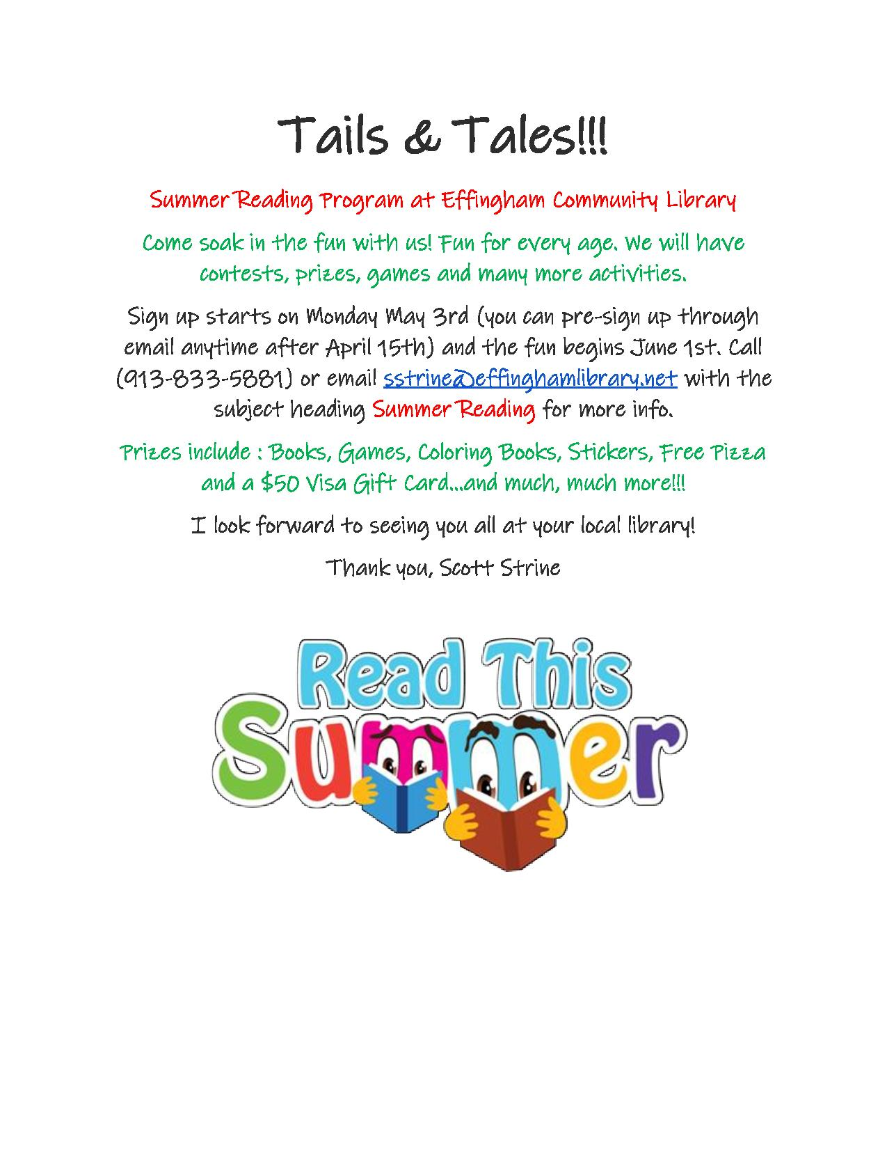 Check out Summer Reading at the Effingham Library! Click here to see the flier!