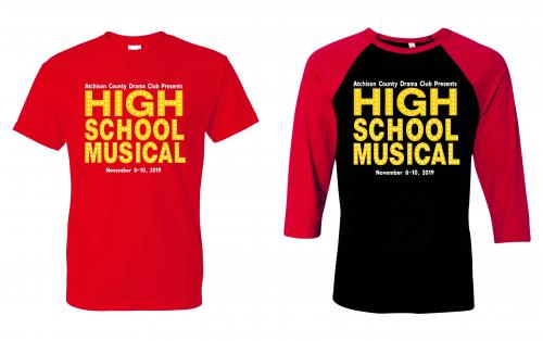 High School Musical red t-shirt and red & black t-shirt choices