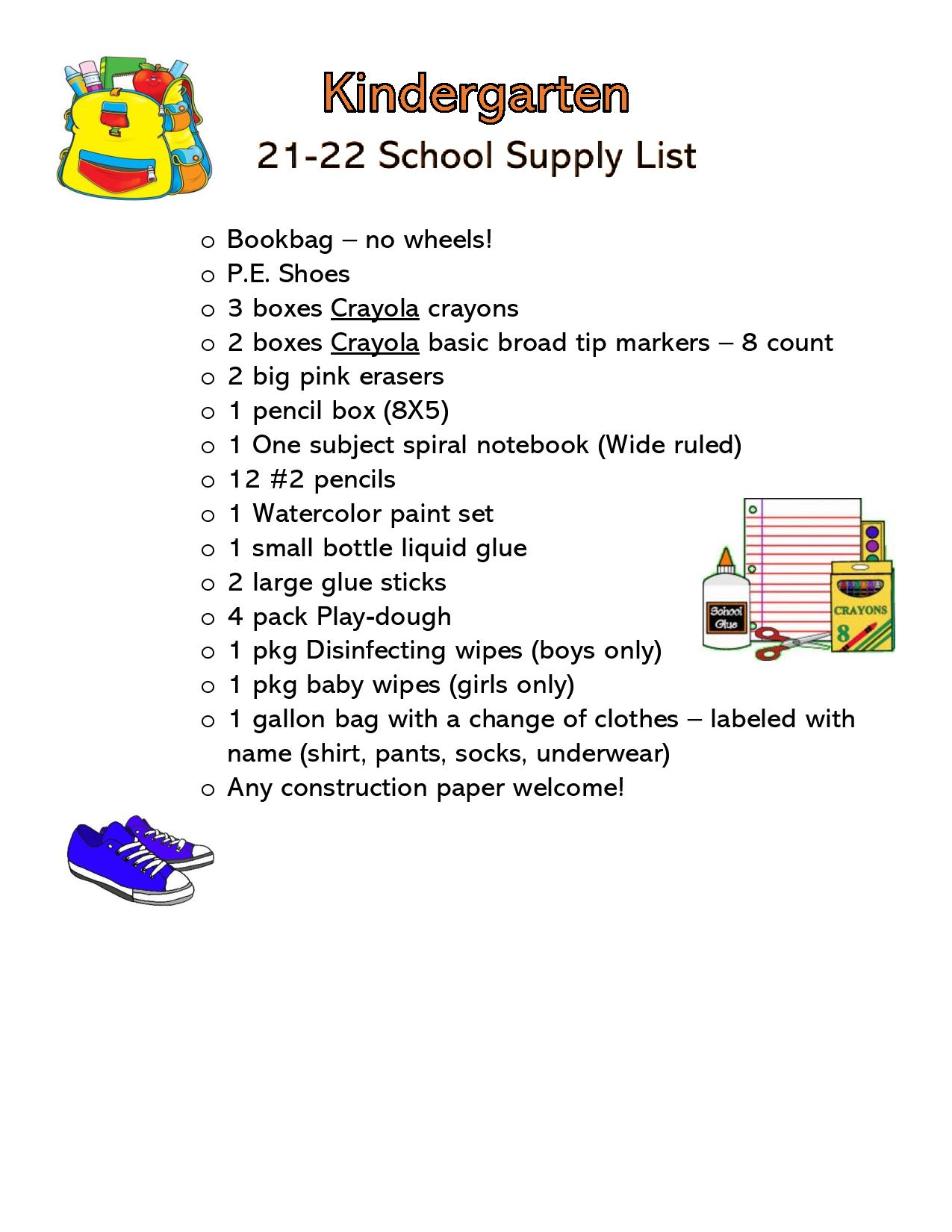 Click here for the Kindergarten supply list