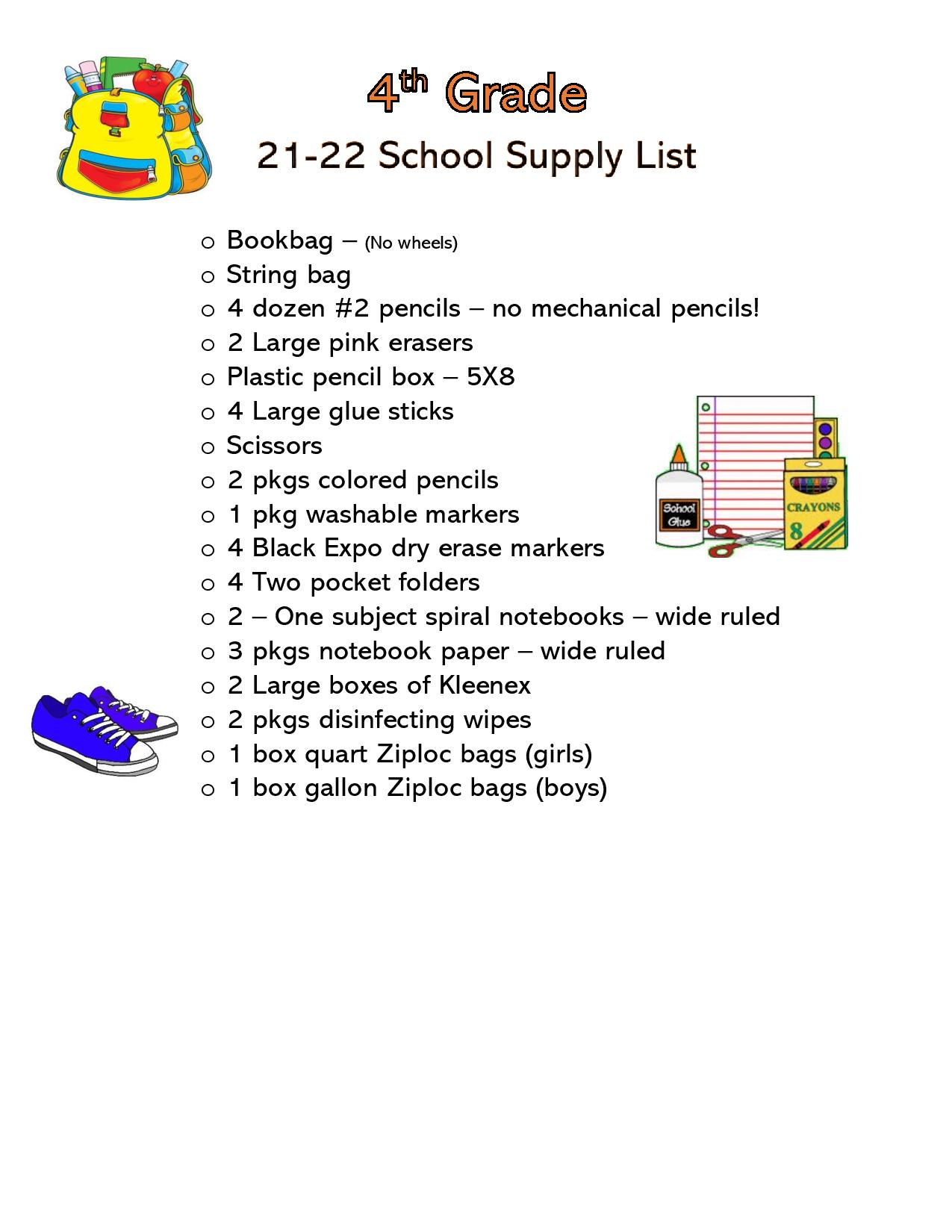 Click on the picture for the 4th Grade supply list