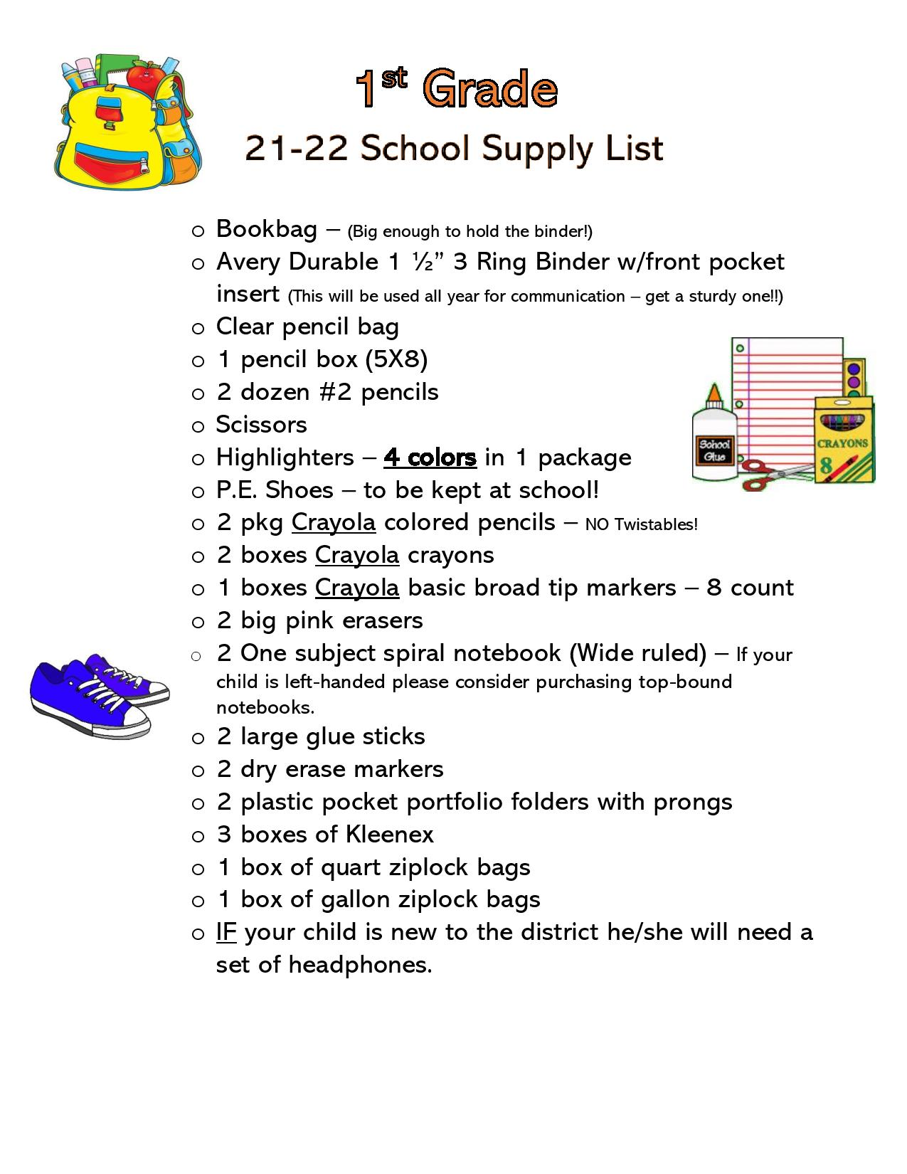 Click on the picture for the 1st Grade supply list