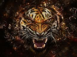 Tiger breaking glass