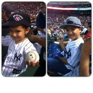 Somehow both of my kids managed to catch a ball at the Yankee vs Rangers game.  Lucky!!!
