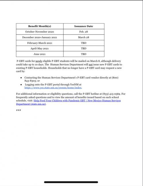 Information regarding Pandemic ebt