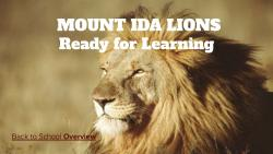 Mount Ida School District Ready for Learning Plan - 8/11/2020