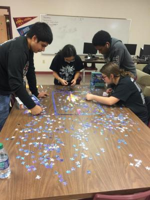 Our Senior students determine to finish this puzzle by the end of the day.