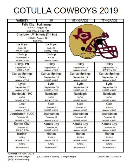 2019 Cowboy Football Schedule