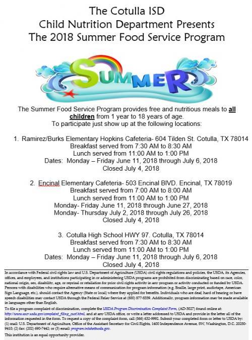 School Summer Meal Flyer