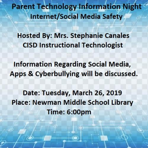 Parent Information Technology Night Flyer