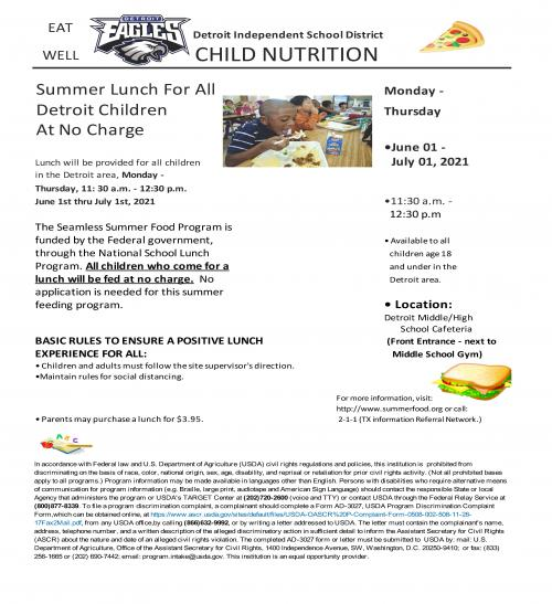 Summer Lunch for all Detroit children at no charge