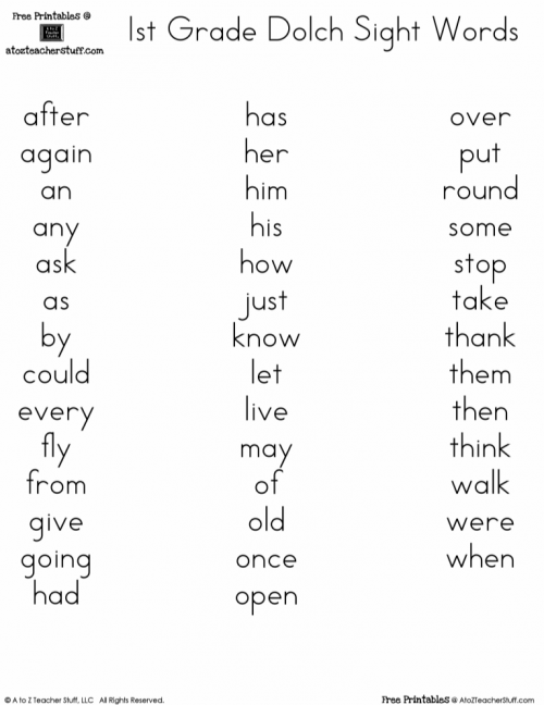 2nd grade dolch sight words - Magdalene-project.org