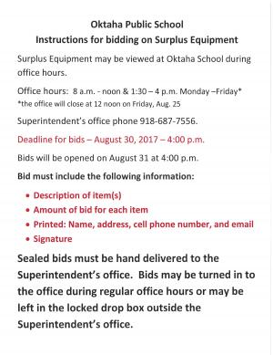Instructions for bidding