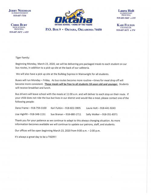 meal delivery letter