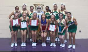 Idalou HS Cheerleaders with mascot