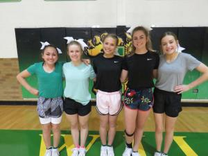 8th graders tryout out: Brier Griffis, Brooke Greer, Katelyn Turner, Aniston Patschke, Ivy Sage