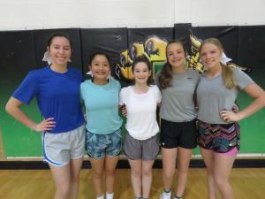 9th graders tryout out: Kylee Sollis, Bella Hernandez, Meghan McGehee, Addy Cook, Eryn Hunsaker
