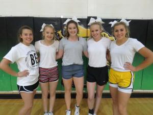 10th graders tryout out: Kelby Upchurch, Lily Williams, Macey Owens, Jordynn Hagler, Holland Sharkey